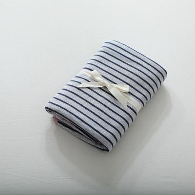 2019针织棉条纹单被套天竺棉单床笠纯棉床单全年枕套 单床笠120cmx200cm 粉蓝中条