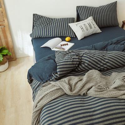 2019针织棉条纹单被套天竺棉单床笠纯棉床单全年枕套 枕套一对48cmx74cm 海军蓝中条