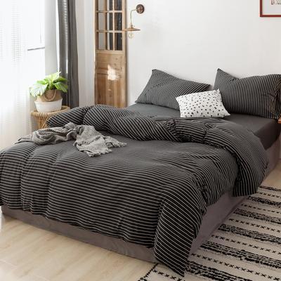 2019针织棉条纹单被套天竺棉单床笠纯棉床单全年枕套 单床笠120cmx200cm 黑白细条
