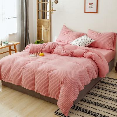 2019针织棉条纹单被套天竺棉单床笠纯棉床单全年枕套 单床笠120cmx200cm 红粉细条