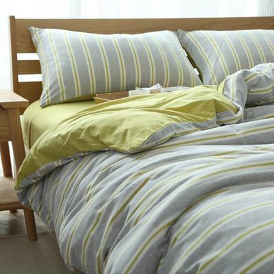 2019针织棉条纹单被套天竺棉单床笠纯棉床单全年枕套 枕套一对48cmx74cm 黄灰彩条