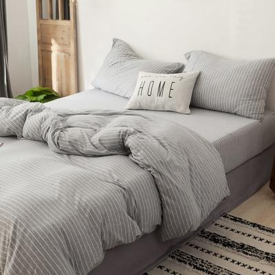 2019针织棉条纹单被套天竺棉单床笠纯棉床单全年枕套 枕套一对48cmx74cm 灰白细条