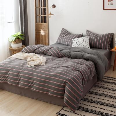 2019针织棉条纹单被套天竺棉单床笠纯棉床单全年枕套 单床笠120cmx200cm 混灰红中条