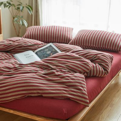2019针织棉条纹单被套天竺棉单床笠纯棉床单全年枕套 单床笠120cmx200cm 酒红中条