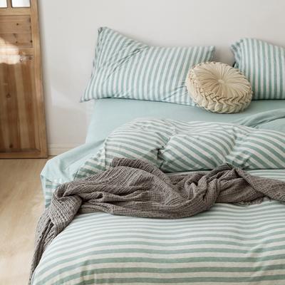 2019針織棉條紋單被套天竺棉單床笠純棉床單全年枕套 單床笠120cmx200cm 水藍中條