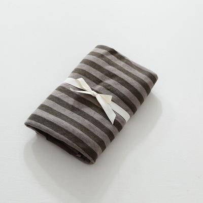2019針織棉條紋單被套天竺棉單床笠純棉床單全年枕套 單床笠120cmx200cm 深咖條紋