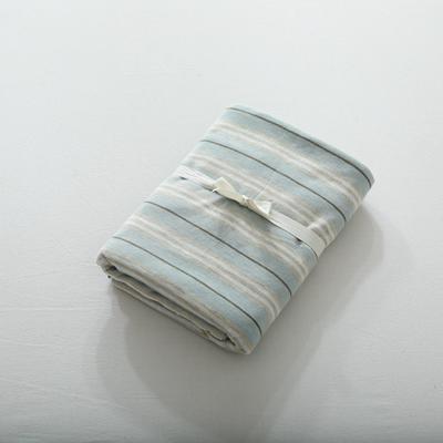 2019针织棉条纹单被套天竺棉单床笠纯棉床单全年枕套 单枕套48cmx74cm 水蓝彩条
