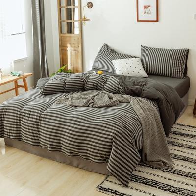 2019针织棉条纹单被套天竺棉单床笠纯棉床单全年枕套 单枕套48cmx74cm 炭黑中条