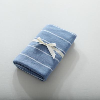 2019針織棉條紋單被套天竺棉單床笠純棉床單全年枕套 單床笠120cmx200cm 天藍寬條