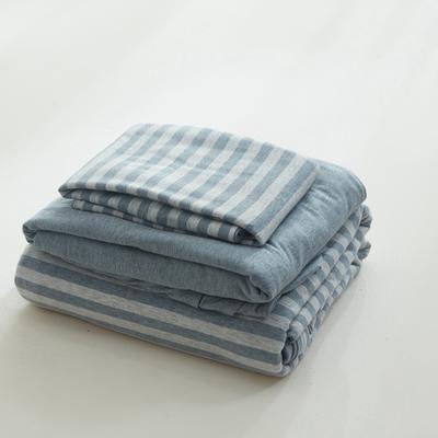 2019針織棉條紋單被套天竺棉單床笠純棉床單全年枕套 單床笠120cmx200cm 煙藍中條