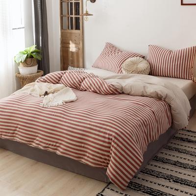 2019针织棉条纹单被套天竺棉单床笠纯棉床单全年枕套 单枕套48cmx74cm 中红条纹