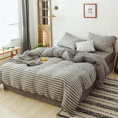 2019针织棉条纹单被套天竺棉单床笠纯棉床单全年枕套 单枕套48cmx74cm 丁子灰条纹