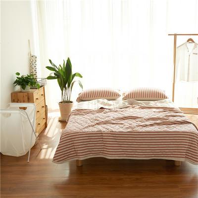 针织棉条纹夏被天竺棉空调被 150x200cm 粉灰细条