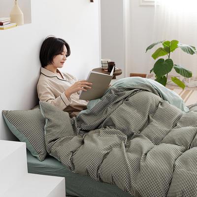 2020新款针织棉华夫格四件套天竺棉三件套被套全棉床笠 1.2m床单款三件套 薄荷绿华夫格