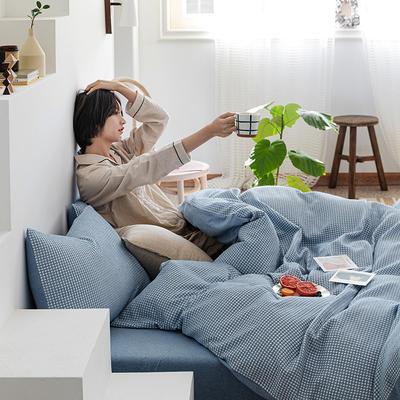 2020新款针织棉华夫格四件套天竺棉三件套被套全棉床笠 1.2m床单款三件套 蓝白华夫格