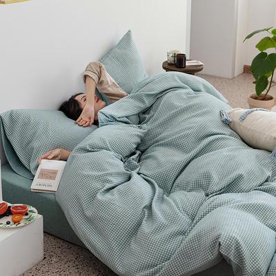 2020新款针织棉华夫格四件套天竺棉三件套被套全棉床笠 1.2m床单款三件套 水蓝华夫格
