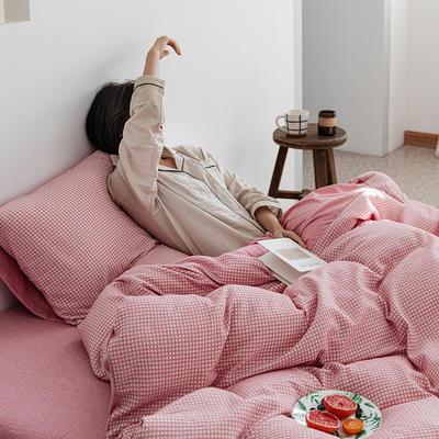 2020新款针织棉华夫格四件套天竺棉三件套被套全棉床笠 1.2m床笠款三件套 红粉华夫格
