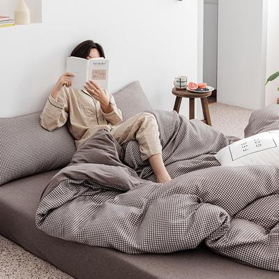 2020新款针织棉华夫格四件套天竺棉三件套被套全棉床笠 1.2m床笠款三件套 咖啡华夫格