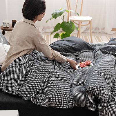 2020新款针织棉华夫格四件套天竺棉三件套被套全棉床笠 1.2m床笠款三件套 炭黑华夫格