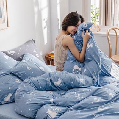 2020新款針織棉印花小清新四件套天竺棉三件套純棉套件 1.2m床單款三件套 星空貓-淺藍