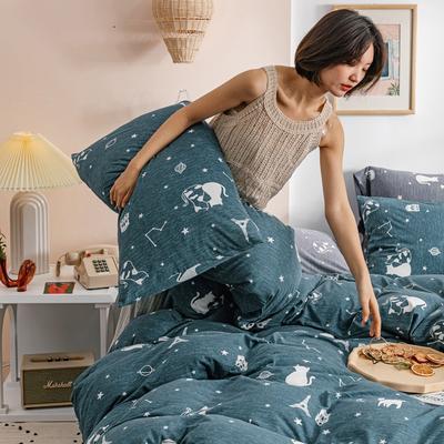 2020新款針織棉印花小清新四件套天竺棉三件套純棉套件 1.2m床單款三件套 星空貓-深藍