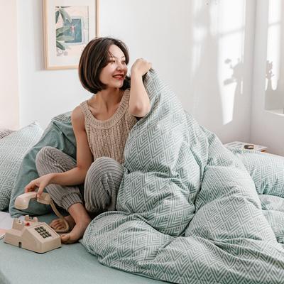 2020新款针织棉天竺棉提花四件套 1.2m床单款 水蓝菱形格