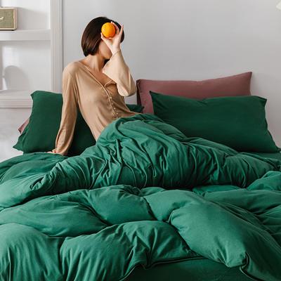2020新款天竺棉純色四件套針織棉三件套純棉套件 1.2m床單款三件套 黛綠