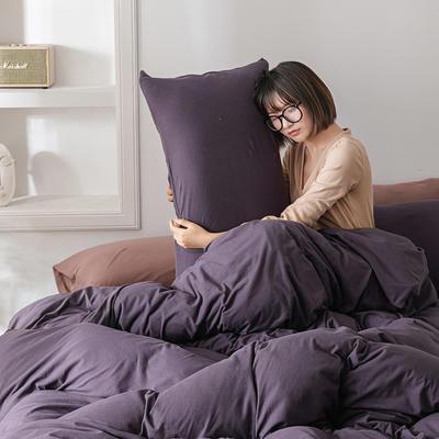 2020新款天竺棉純色四件套針織棉三件套純棉套件 1.2m床單款三件套 琉璃紫