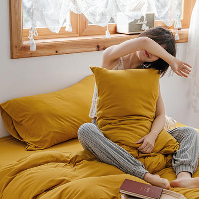 2020新款针织纯色单品枕套 48cmX74cm/对 霍泥黄