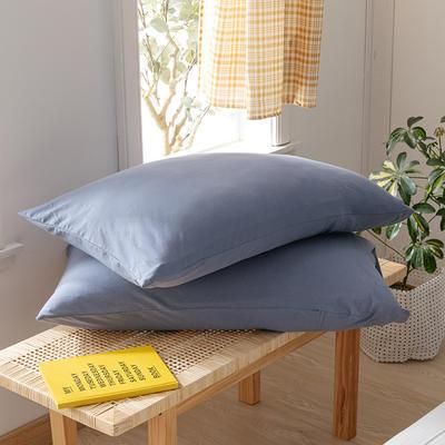 2020新款针织纯色单品枕套 48cmX74cm/对 羽纱蓝