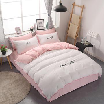2018新款水洗棉流苏花边四件套 1.2m(4英尺)床 粉白色