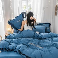2019新款水洗棉蕾丝边四件套 1.2m床单款三件套 宝蓝