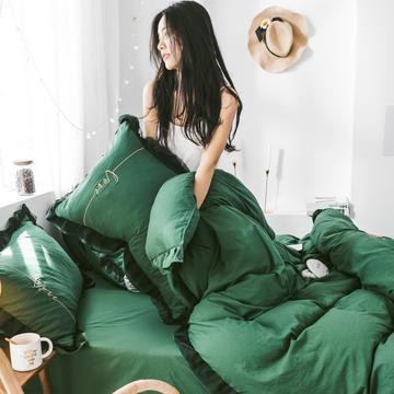 2019新款水洗棉蕾丝边四件套 1.2m床单款三件套 墨绿