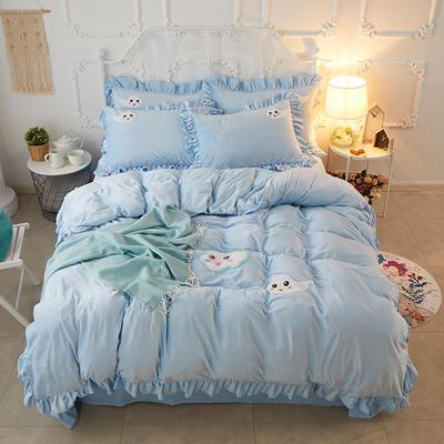 2018新款拉绒绣水晶绒四件套 1.5m(5英尺)床 可可云朵-蓝