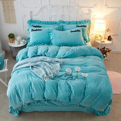 2018新款拉绒绣水晶绒四件套 1.5m(5英尺)床 自由飞翔-蓝
