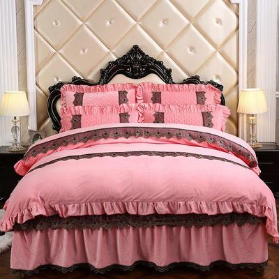 2019新款宝宝绒可拆卸床裙款四件套-蒙娜丽莎系列 床裙款1.5 粉色
