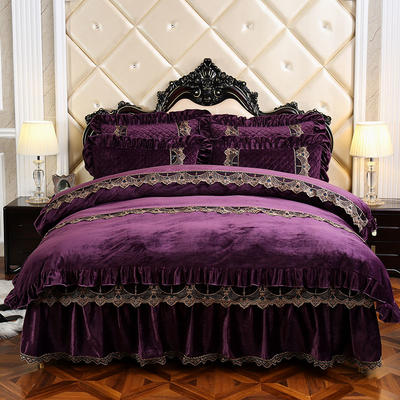 2019新款宝宝绒可拆卸床裙款四件套-蒙娜丽莎系列 床裙款1.5 紫色
