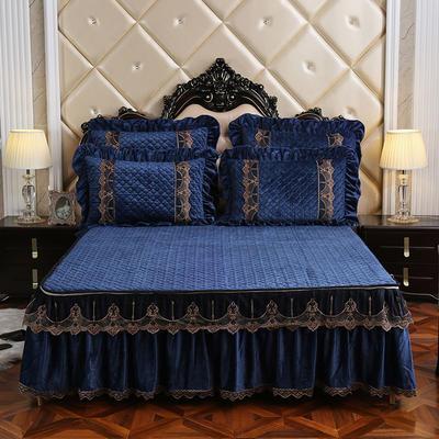 2019新款宝宝绒可拆卸床裙-蒙娜丽莎系列 1.5*2.0 蓝色