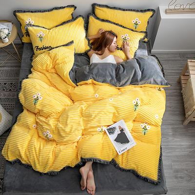 2019新款魔法绒毛巾绣流苏款四件套 1.2m床单款三件套 黄小花