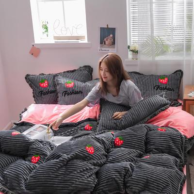 2019新款魔法绒毛巾绣流苏款四件套 1.5m-1.8m床单款四件套 灰草莓