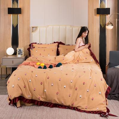 2019新款网红蝴蝶结保暖A版活性拉舍尔棉+B版水晶绒四件套 1.5m床四件套 网红小草莓