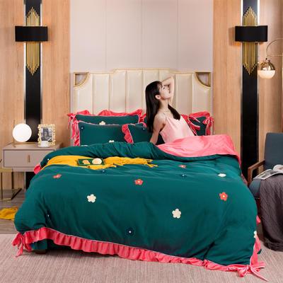 2019新款网红蝴蝶结保暖A版活性拉舍尔棉+B版水晶绒四件套 1.5m床四件套 花语情