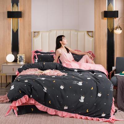 2019新款网红蝴蝶结保暖A版活性拉舍尔棉+B版水晶绒四件套 1.5m床四件套 顽皮猫