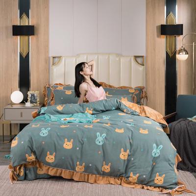 2019新款网红蝴蝶结保暖A版活性拉舍尔棉+B版水晶绒四件套 1.5m床四件套 开心小兔