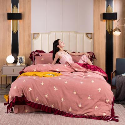 2019新款网红蝴蝶结保暖A版活性拉舍尔棉+B版水晶绒四件套 1.5m床四件套 迷鹿