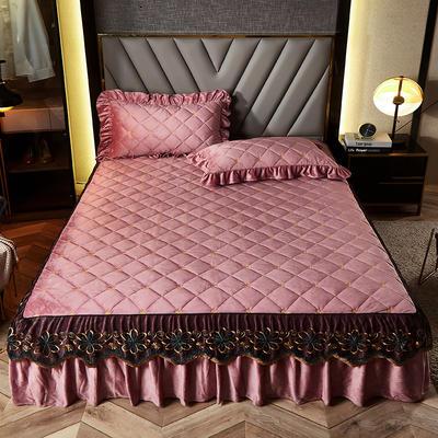 2020新款宝宝绒夹棉刺绣床裙三件套 150cmx200cm 格调 豆沙
