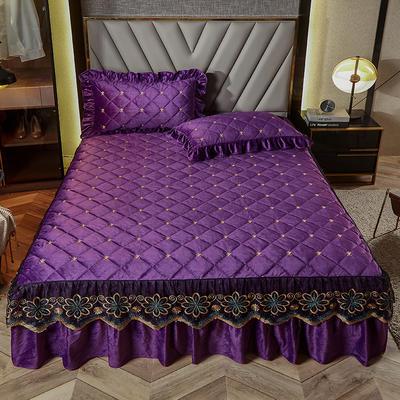 2020新款宝宝绒夹棉刺绣床裙三件套 150cmx200cm 格调 魅紫