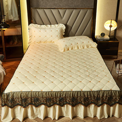 2020新款宝宝绒夹棉刺绣床裙三件套 150cmx200cm 格调 米黄
