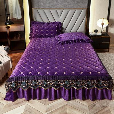 2020新款宝宝绒夹棉刺绣床裙三件套 150cmx200cm 小雏菊 魅紫