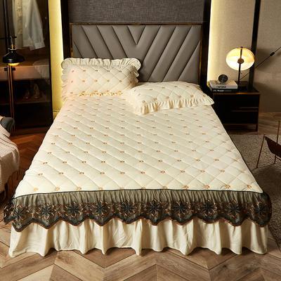 2020新款宝宝绒夹棉刺绣床裙三件套 150cmx200cm 小雏菊 米黄
